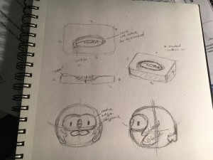roughly drawn diagrams of the two pieces